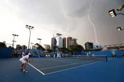 Lightning strikes over Melbourne Park