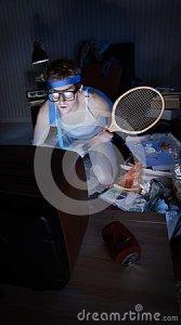 televisión-de-observación-de-la-fan-de-tenis-34517764